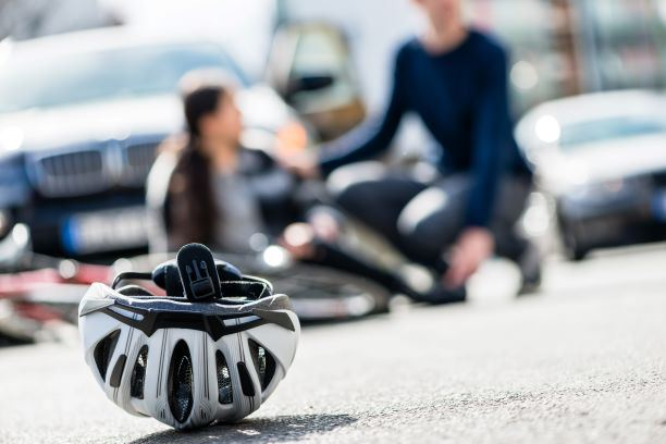 image of a bicycle helmet on the ground